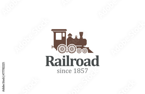 Vintage Retro Railroad Train Locomotive Logo design vector - 77782225