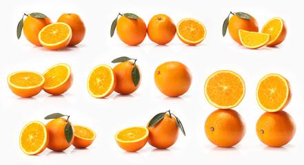 composite of Big oranges fruit  isolated on white background