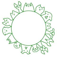 犬と猫 円 コピースペース ライン