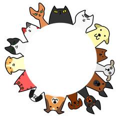 犬と猫 円 コピースペース カラー