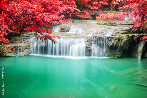 Beautiful waterfall in autumn forest © totojang1977