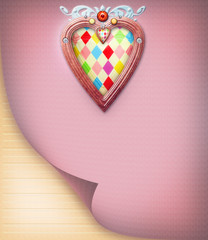 Pink postcard with ornamental heart