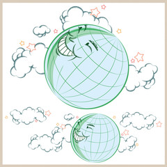 Vector illustration. Cartoon earth smiling in the clouds.