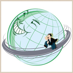 Vector illustration. Funny man running around the planet earth.