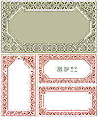 Vector vintage ornament labels on different versions