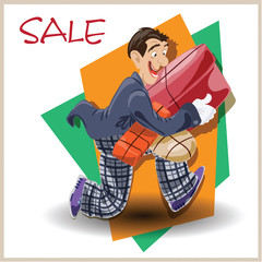 Vector illustration. Funny man running with the sale.