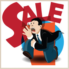 Vector illustration. Funny man running on the sale.