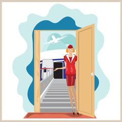 Vector funny airplane stewardess invites to travel.