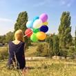 canvas print picture - Frau mit Ballons im Park