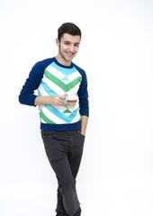Teenager drinking latte macchiato