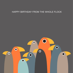 greeting card with funny birds and text space