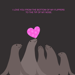valentine's day card with sea lions balancing heart on nose