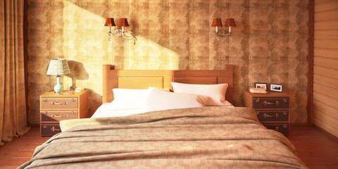 Кровать в спальне в деревянном доме