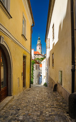 At the old streets of Czech Krumlov, Czech Republic