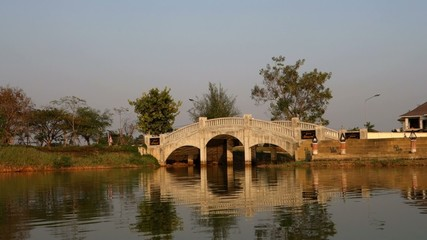 Bridge with Reflection in City Garden of Phitsanulok