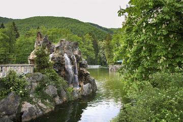 Swan Lake in Rajecke Teplice. Slovakia