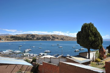 Boats in the town of Copacabana on lake Titicaca
