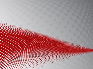 Abstract halftone background with red wave