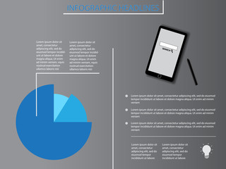 Infographics with blue diagram and smartphone