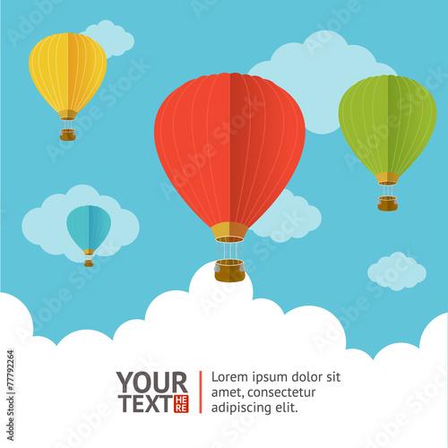 Vector. Hot air ballons option banners - 77792264