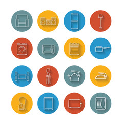 Set flat icons of house appliance