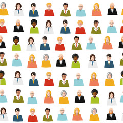 crowd of color flat people seamless pattern