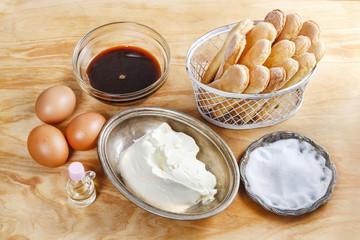 Ingredients for tiramisu cake