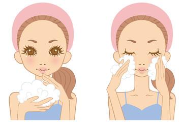 女性 洗顔 イラスト