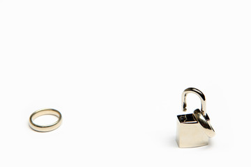 Divorce - wedding ring on open padlock