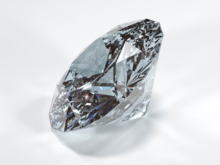 Shining diamond on a white background, side view