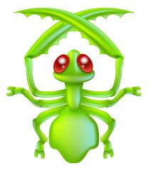Cartoon insect preying mantis bug