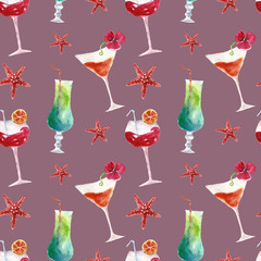 Seamless pattern with summer cocktails.Watercolor illustration