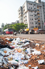 Illegal landfill in a city