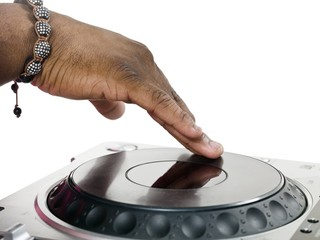 human hand with turntable