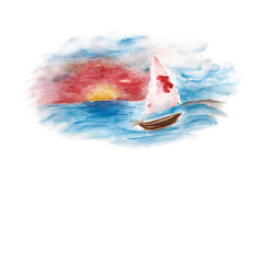 Background with the ship in the sea. Watercolor illustration