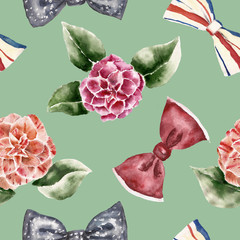 Seamless pattern with flowers,bow tie. Watercolor illustration.