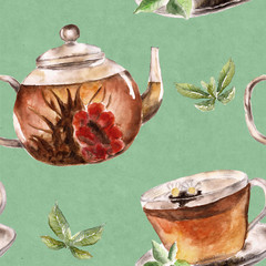 Seamless pattern with cup, teapot. Watercolor illustration.