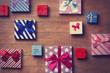 Leinwanddruck Bild - Different color gift boxes