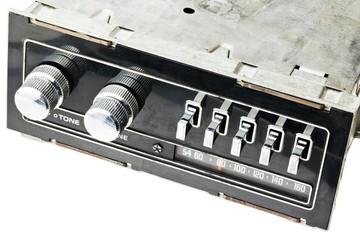 old radio on white surface