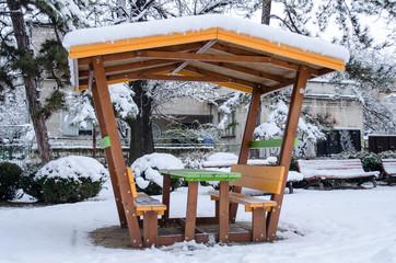 Yellow snow gazebo