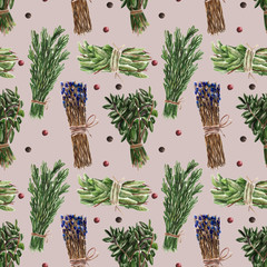 Seamless pattern with basil, rosemary. Watercolor illustration.