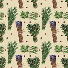 Seamless pattern with bunches of basil, rosemary.