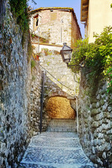 Old stone  medieval village,  spain