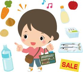 スーパーマーケットで買い物する女性