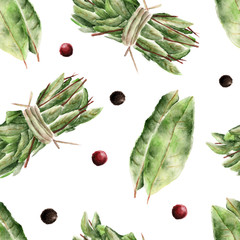 Seamless pattern with bay leaf. Watercolor illustration.