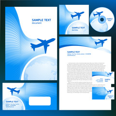 corporate identity airplane flight tickets air fly blue