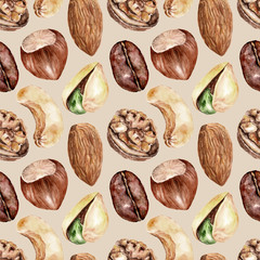 Seamless pattern with nuts . Watercolor illustration.