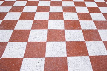 Square red and white
