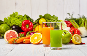 Various Freshly Vegetable Juices for Detox