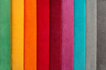 Photos bright colored fabrics close-up